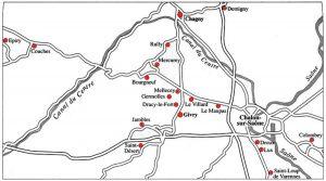 Carte des différents lieux où les Niépce ont vécu ou laissé des traces.