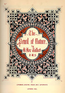 "Couverture originale du ""Pencil of Nature"" de H.F Talbot"