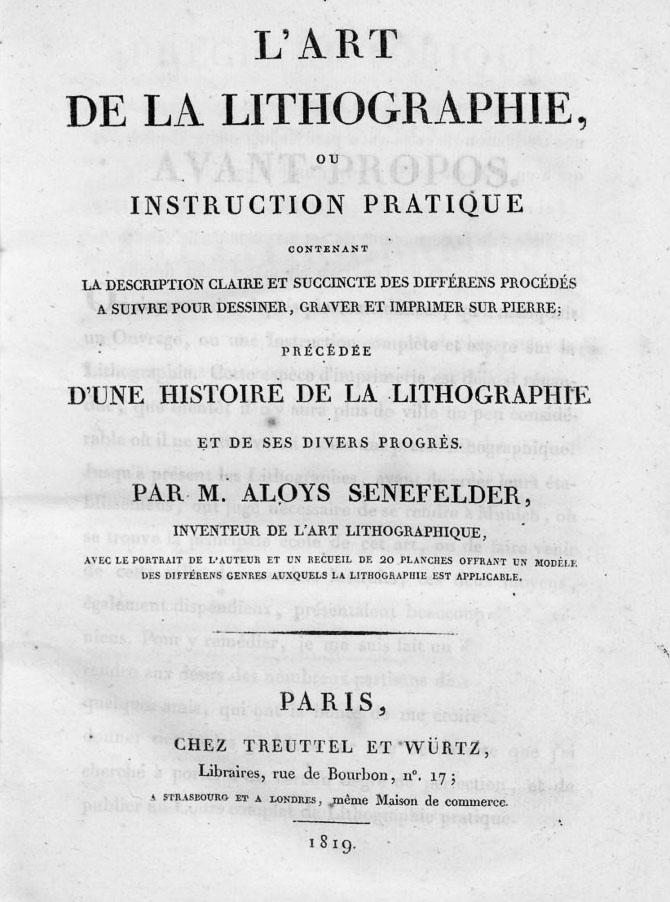 xtrait du livre de Senefelder, inventeur de la lithographie