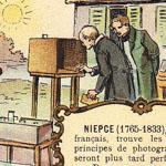 """Niepce et Daguerre, """"Les bienfaiteurs de l'humanité"""". Emballage de chocolat."""