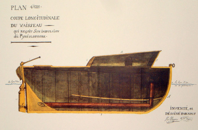 Longitudinal section of the boat propelled by the pyreolophore, drawn by the Niépce brothers